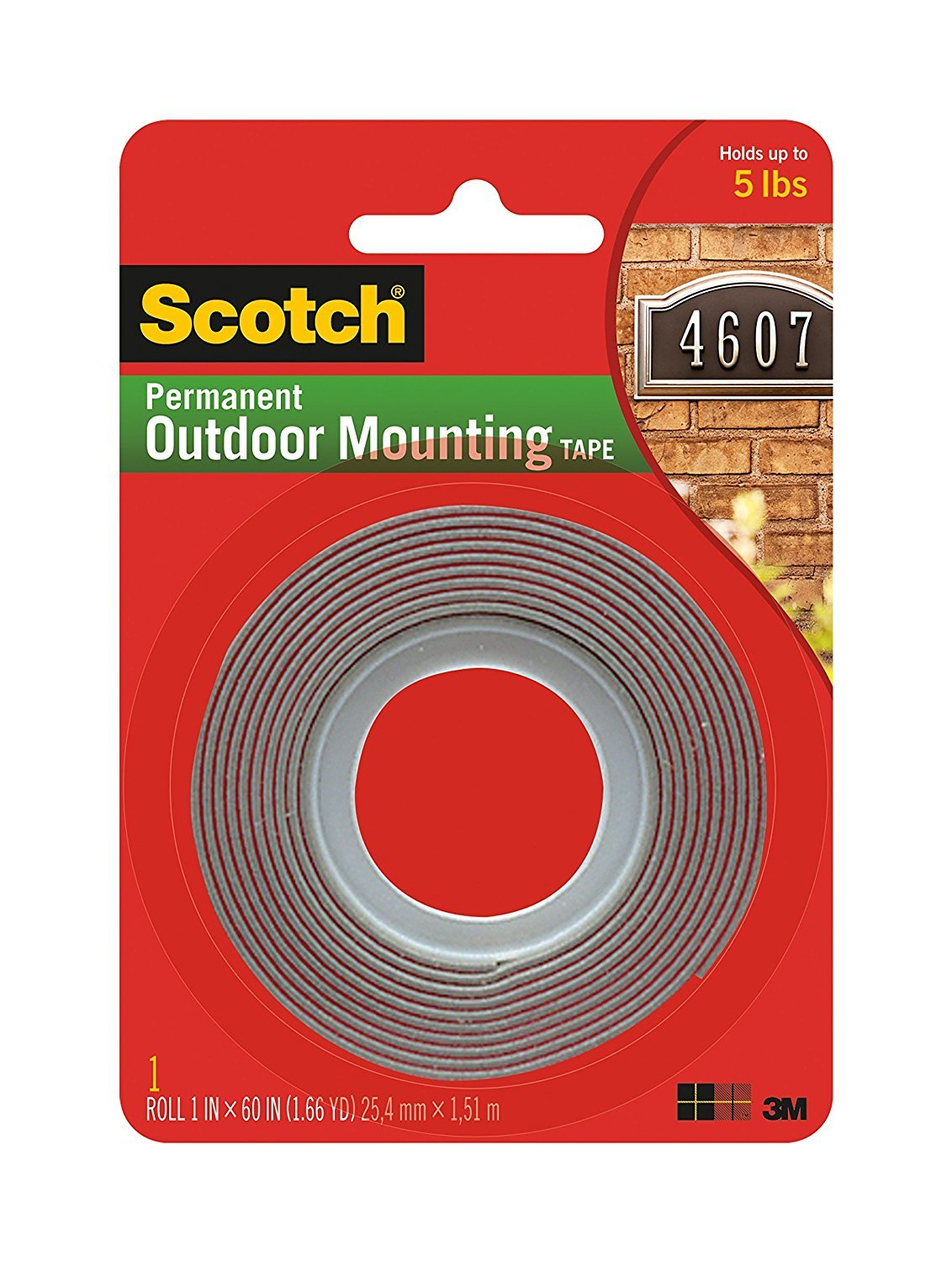 Scotch Extreme Mounting Tape, 1-Inch by 60-Inches, Black, 2-Rolls 3M 3M-01986