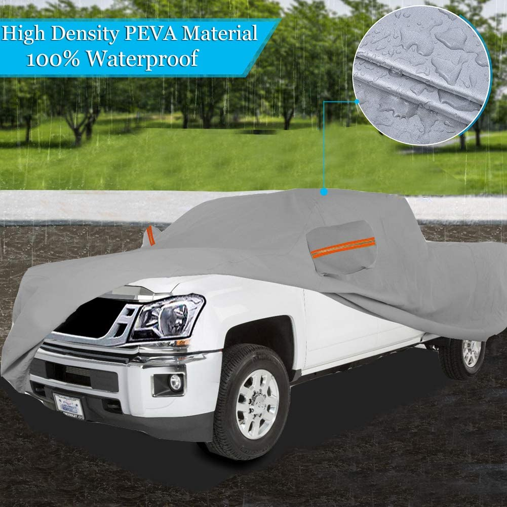Big Ant Truck Cover All Weather Protection 100/% Waterproof Pickup Truck Cover Custom Fit for Full Size Truck with Short Long Crew Cab up to 249 L,Gray(with Driver Door Zipper)