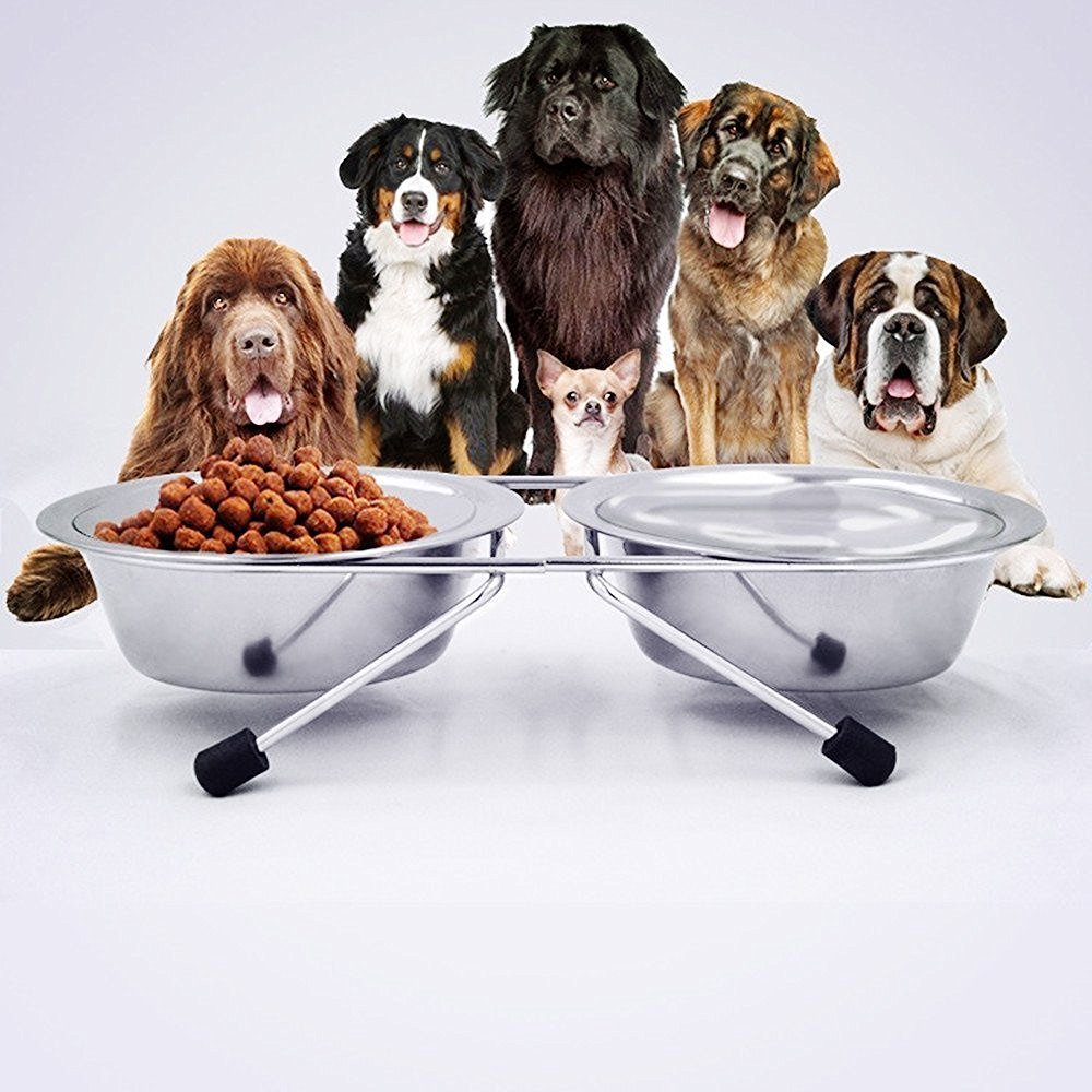 Prettysell Raised Pet Bowls, Elevated Double Stainless Steel Round Shape Food and Water Bowl Feeder with Non-slip Stand for Dogs, Cats and other animal (XL)