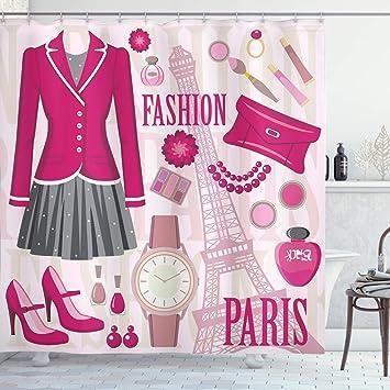 Ambesonne Fashion Shower Curtain Fashion Theme In Paris With Outfits Dress Watch Purse Perfume Parisienne Landmark Cloth Fabric Bathroom Decor Set