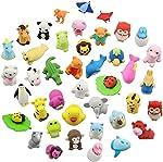 LW Funny Toys 30PCS Animal Erasers Bulk Mini Assorted Puzzle Erasers
