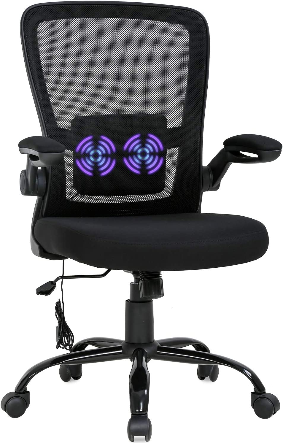 Amazon Com Home Office Chair Ergonomic Desk Chair Massage Computer Chair Swivel Rolling Executive Task Chair With Lumbar Support Arms Mid Back Adjustable Mesh Chair For Women Adults Black Furniture Decor