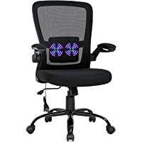 Home Office Chair Ergonomic Desk Chair Massage Computer Chair Swivel Rolling Executive Task Chair with Lumbar Support Arms Mid Back Adjustable Mesh Chair for Women Adults,Black
