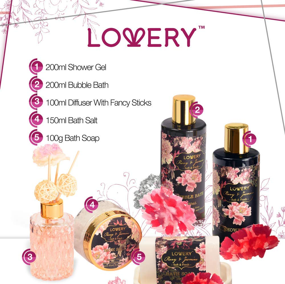 Lovery s Spa Gift Basket Bath Shower Caddy – 11 Piece Set – Fresh Peony and Jasmine Fragrance – Paraben Cruelty Free – Perfect Gift Idea For All Occasion