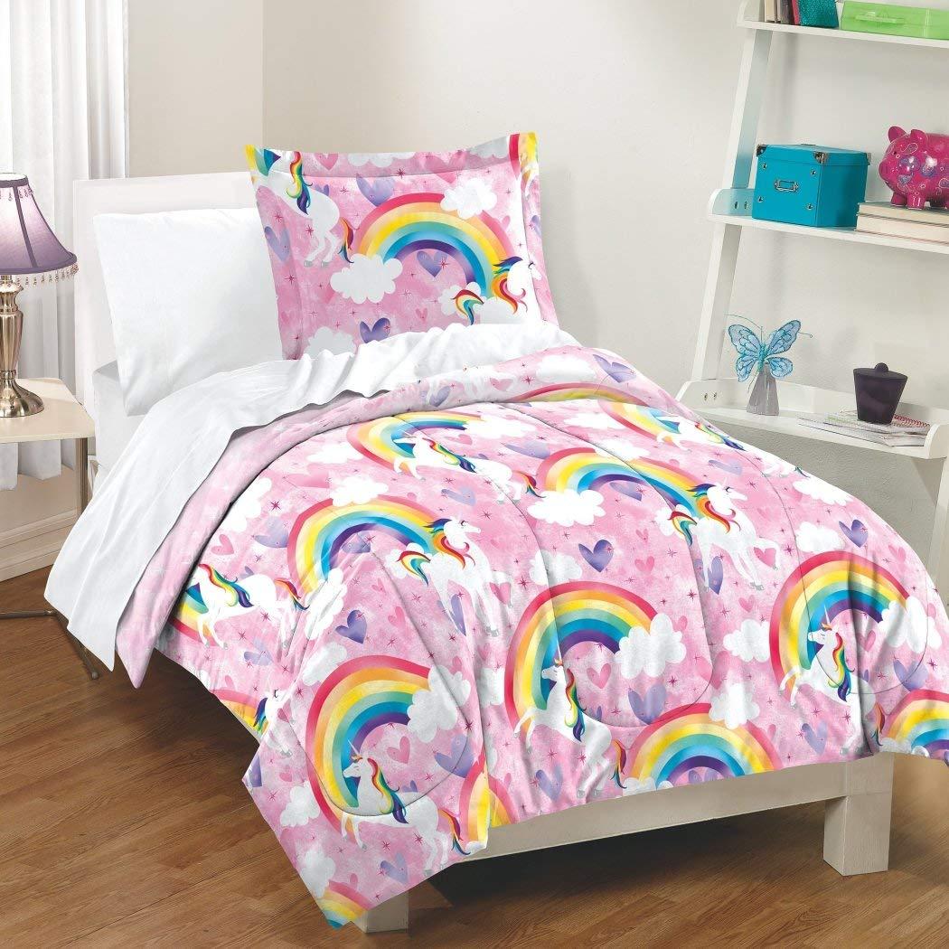 D&H 2 Piece Girls Pink Blue Yellow Unicorns Comforter Twin Set, Multi