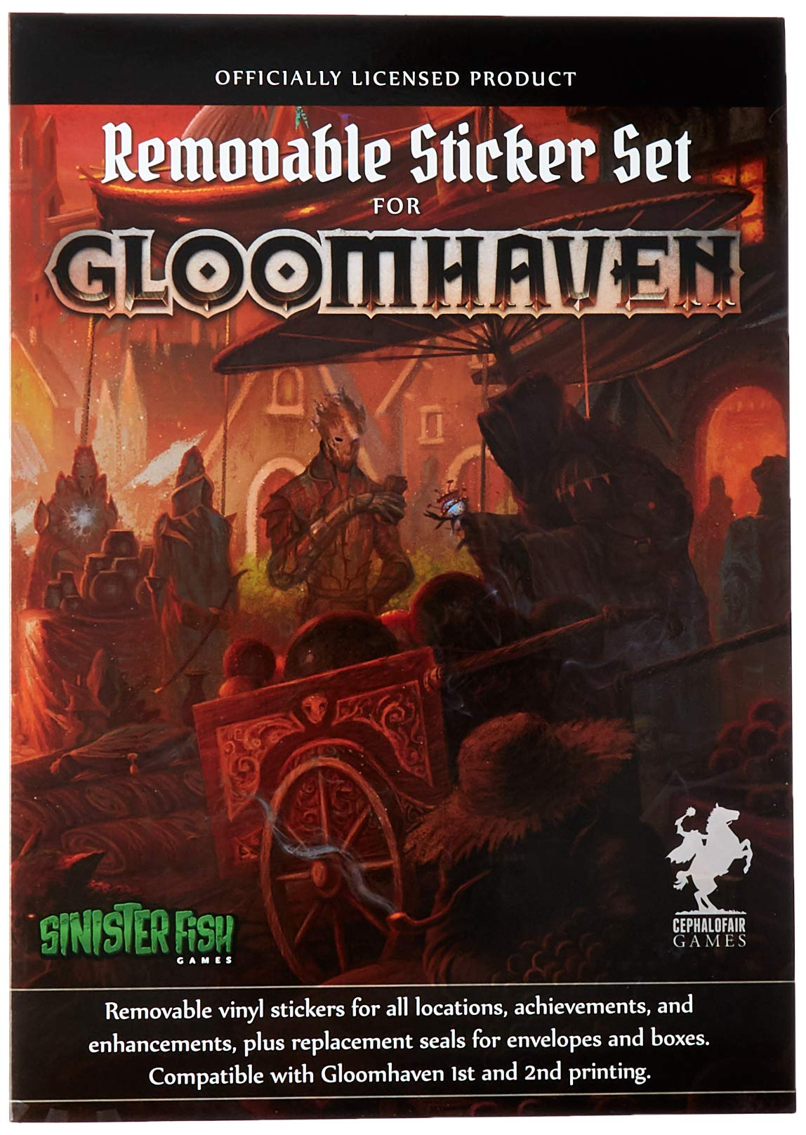 Cephalofair Games Sinister Fish Gloomhaven Removable Sticker Set, Removable Stickers Multi-Award-Winning Strategy Boxed Board Game Accessory for ages 12 & Up, SIF00020
