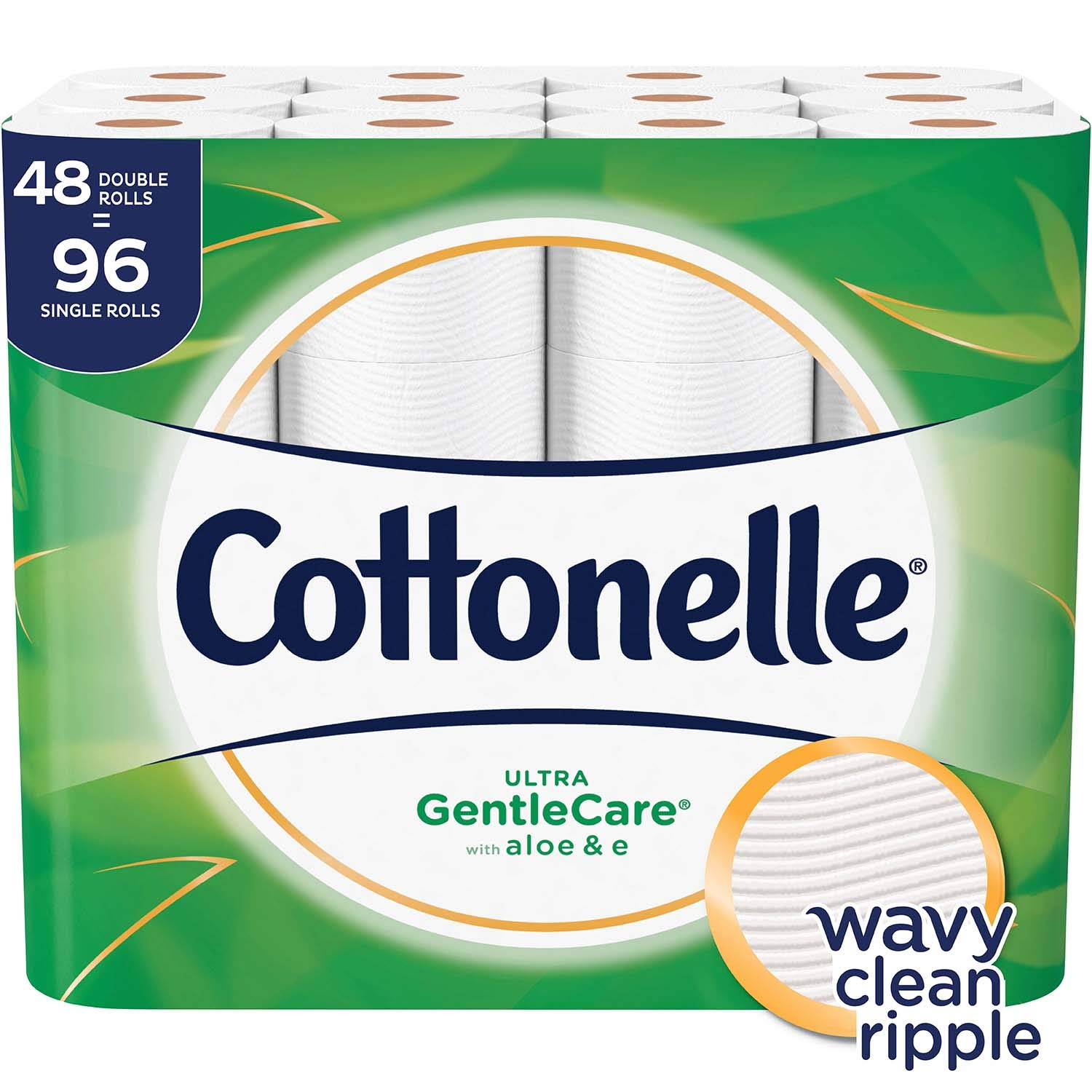 Cottonelle Ultra GentleCare Toilet Paper, 48 Double Rolls, Sensitive Bath Tissue with Aloe & Vitamin E by Cottonelle