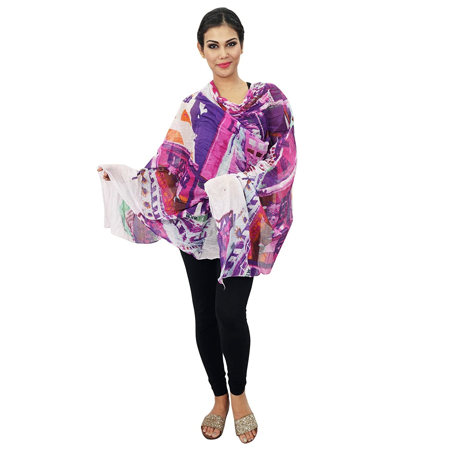 Long Stole Cotton Dupatta Chunni Women Wear Neck Wrap Indian Scarves Head Scarf