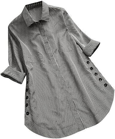 DEELIN Camiseta Larga De Manga Larga De Gran TamañO De Mujer Escocesa con Botones Flojos Top Camisa Roja Azul Negra: Amazon.es: Ropa y accesorios