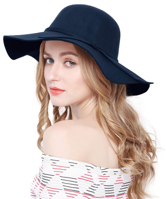Lovful Women 100% Wool Wide Brim Cloche Fedora Floppy hat Cap,Navy by Lovful (Image #4)