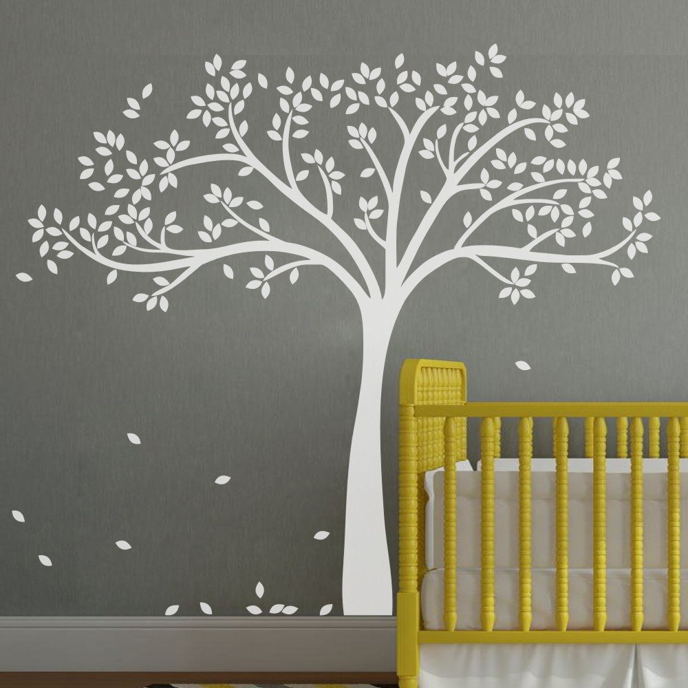 Amazon.com: MairGwall Fall Tree Wall Decal Monochromatic Tree Decal Baby  Nursery Wall Decor 78