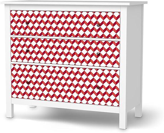 Ikea Hemnes Cassettiera Rossa.Cassettiera 3 Cassetti Pellicola Ikea Hemnes Design Adesivi 3d
