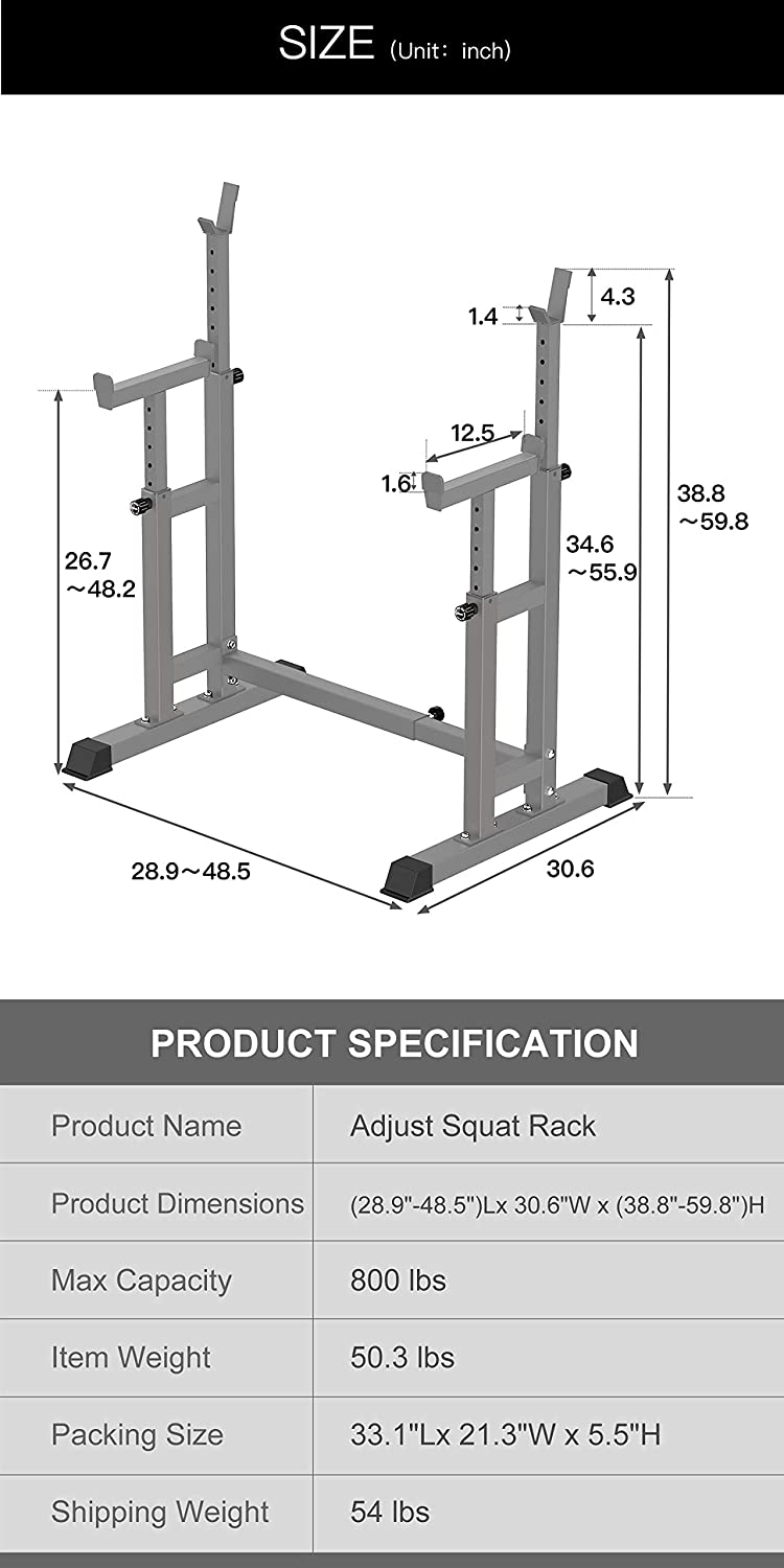Dumbbell Rack for Home Gym Exercise Fitness,Height Range 26.8 to 55.9 Gray YouTen 800LBS Adjustable Sturdy Steel Barbell Squat Rack