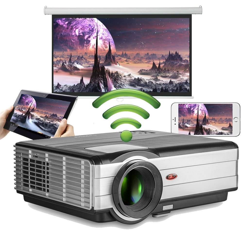 Android WiFi Projector 3500 Lumen- Support 1080P Full HD WiFi Airplay Miracast- LCD Multimedia LED Home Theater Movie Video Game- HDMI USB SD VGA Built-in Speaker by EUG (Image #1)
