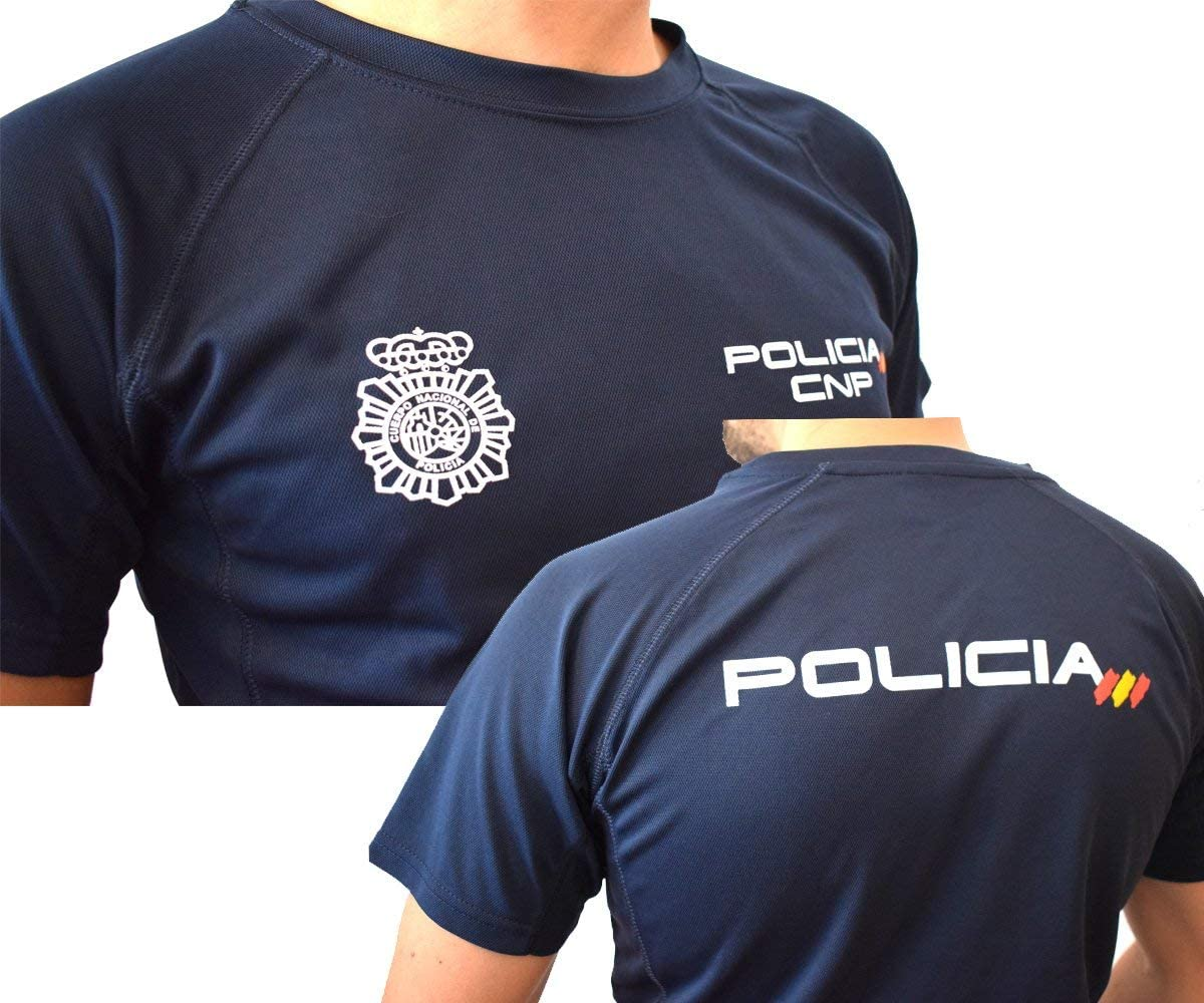 CNP Camiseta policia Nacional Tejido Tecnico para Entrenamiento oposiciones, Color Azul Marino con Bandera de españa, Disponible en Varias Tallas: Amazon.es: Deportes y aire libre
