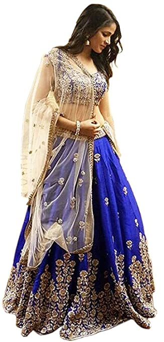 Lehenga Choli for women (surtii funda blue banglory silk lehenga choli_parrot_Free Size) Lehenga Cholis at amazon