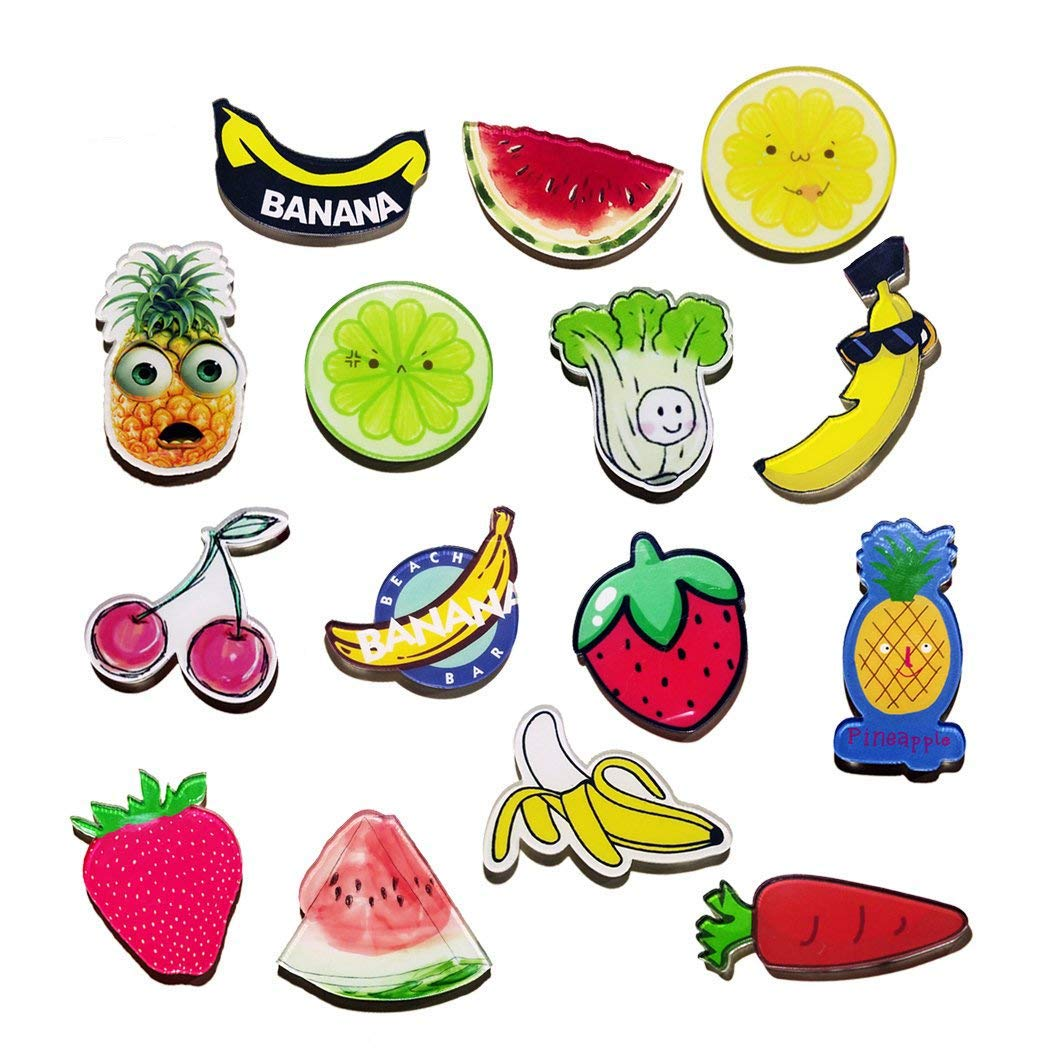 Acrylic Creative Cute Fruit Brooches Badge for Clothes/Bags/Backpack ECT (15 Pieces) si ying 02