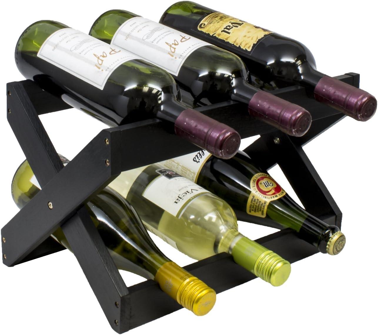 Sorbus Bamboo Foldable Countertop Wine Rack 6-Bottles Black