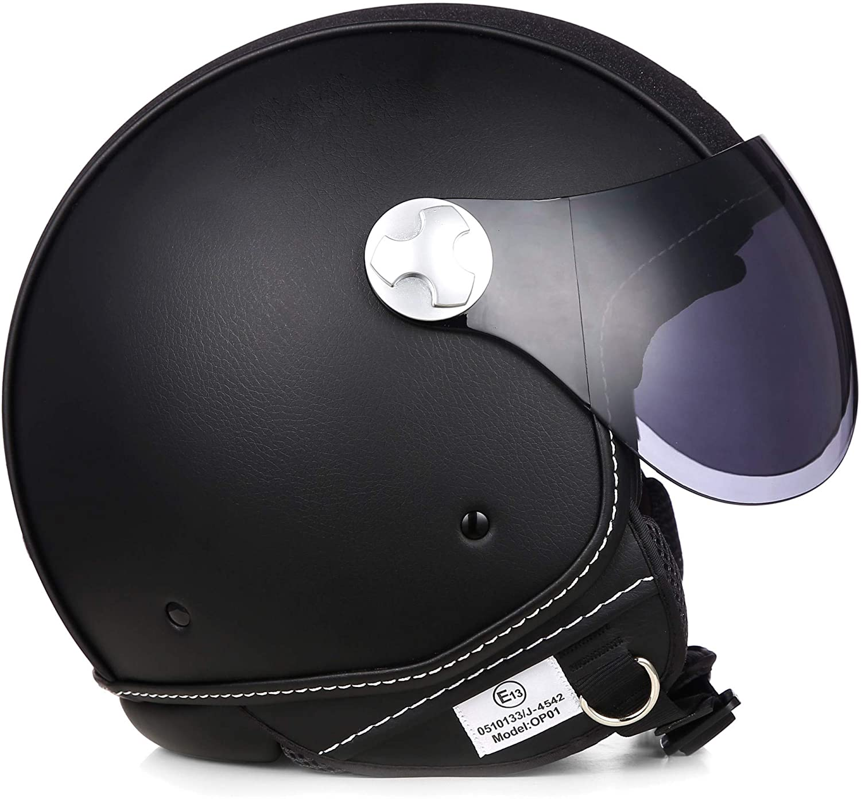 """ARMOR /· AV-84 Pure /""""Booster/"""" /· Jet-Helm /· Chopper Roller Bobber Motorrad-Helm Mofa Scooter-Helm /· ECE certified /· Visier /· Exclusive Leather-Design /· Click-n-Secure/™ Clip /· Tragetasc"""