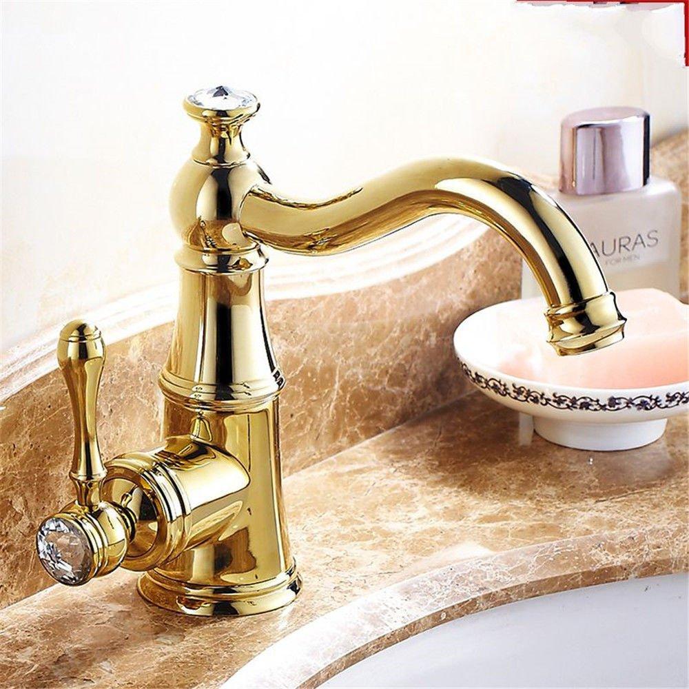 Gyps Faucet Waschtisch-Einhebelmischer Waschtischarmatur Badarmatur Becken Bronze Gold gerahmt Bohren und Kaltes Wasser Waschbecken Waschbecken Waschbecken Wasserhahn B,Mischbatterie Waschbecken