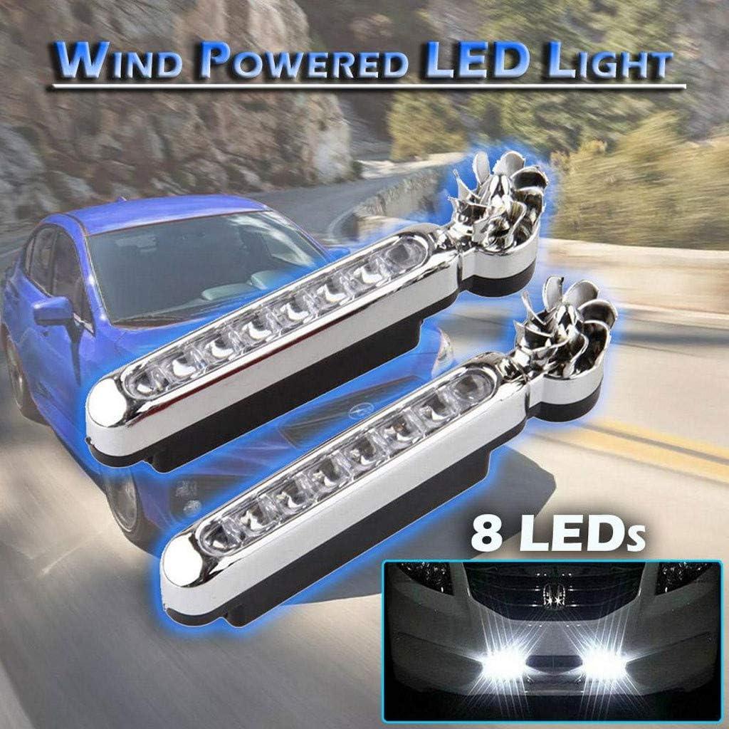 White light 2PCS Wind Powered LED Light Wind Powered 8 LED Car DRL Daytime Running Light Fog Warning Auto Head Lamp
