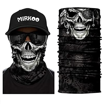 MIRKOO 3D Premium Breathable Seamless Tube Skull Half Face Mask, Windproof Dust-proof UV Protection Bicycle Bike Motorcycle Face Mask for Cycling Hiking Camping Climbing Fishing Motorcycling(SFM-683): Automotive