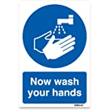 Now Wash Your Hands Sign Safety Sticker self-adhesive vinyl decal (150 x 200mm)