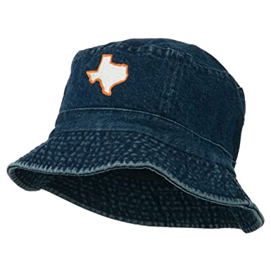 56ea0d17bec1c E4hats Texas State Map Embroidered Bucket Hat - Denim OSFM at Amazon ...