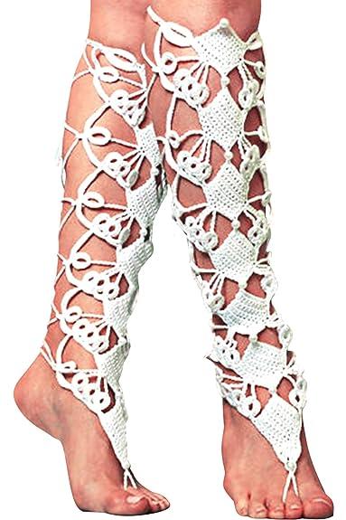 JOXJOZ - Tobillera de ganchillo con cordones para botas de ...