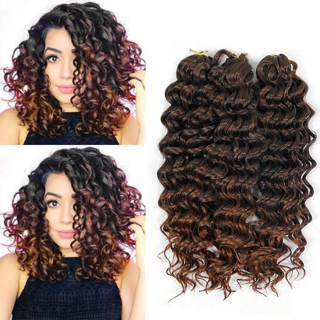 Amazon Com Bekjdiof Deep Wave Crochet Braid Hair Extension Short Synthetic Kanekalon Hair Crochet Braiding Hair 10inch Synthetic Hair 1b 30 3piece Beauty