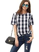 WDIRA Women's Check Round Neck Short Sleeve T-Shirt