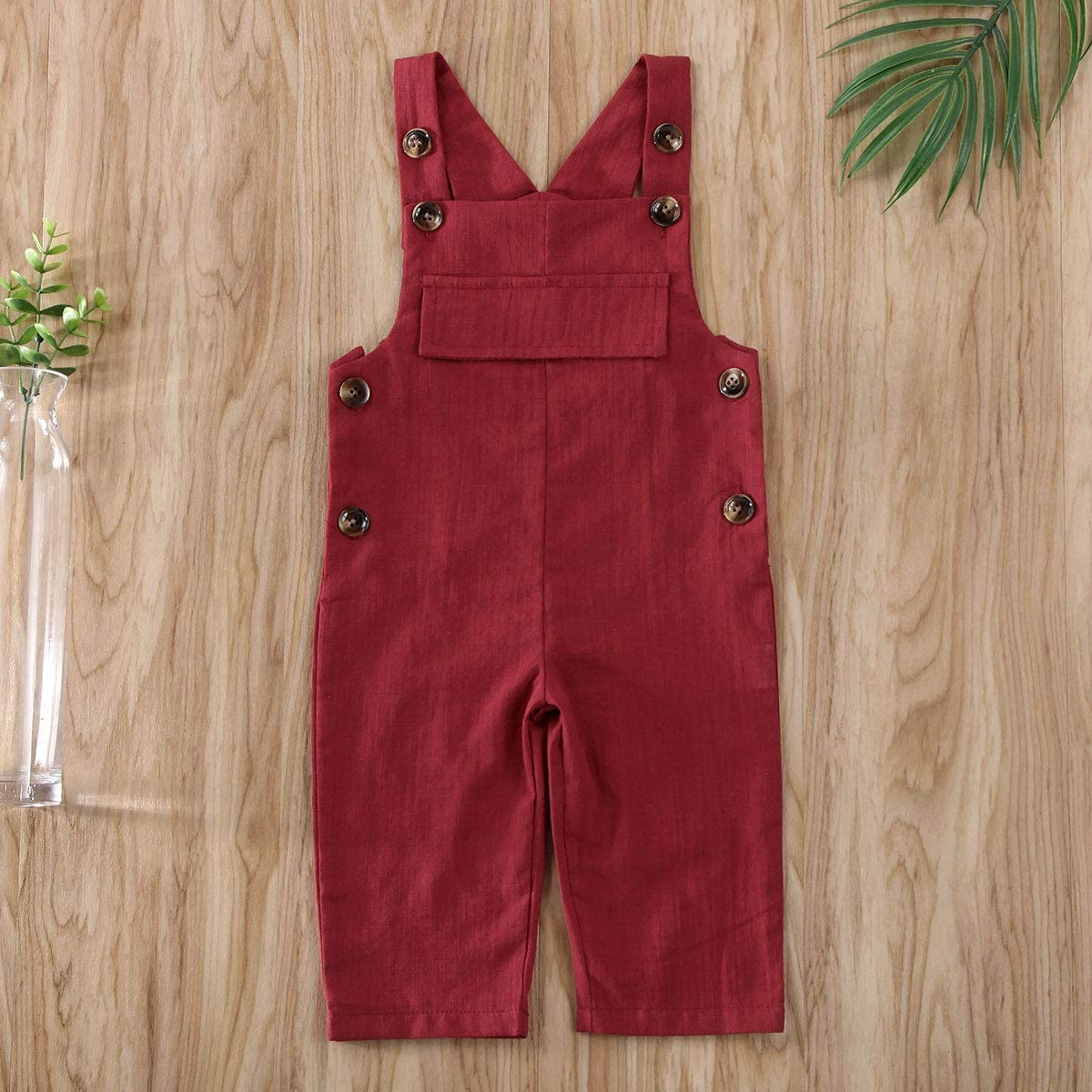 Karuedoo Toddler Baby Girl Overalls Cotton Linen Strap Suspender Pant Solid Jumpsuit Romper Bib Pants One-Piece Outfits