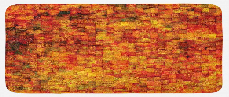 Ambesonne Burnt Orange Kitchen Mat, Vintage Mosaic Background Quadratic Little Geometric Squares Faded Print, Plush Decorative Kitchen Mat with Non Slip Backing, 47