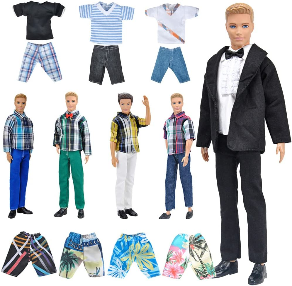 E-TING 10-Item Fantastic Pack = 5 Sets Fashion Casual Wear Clothes Outfit with 5 Pair Shoes for boy Doll Random Style (Casual Wear Clothes + Black Suit + Swimwear)