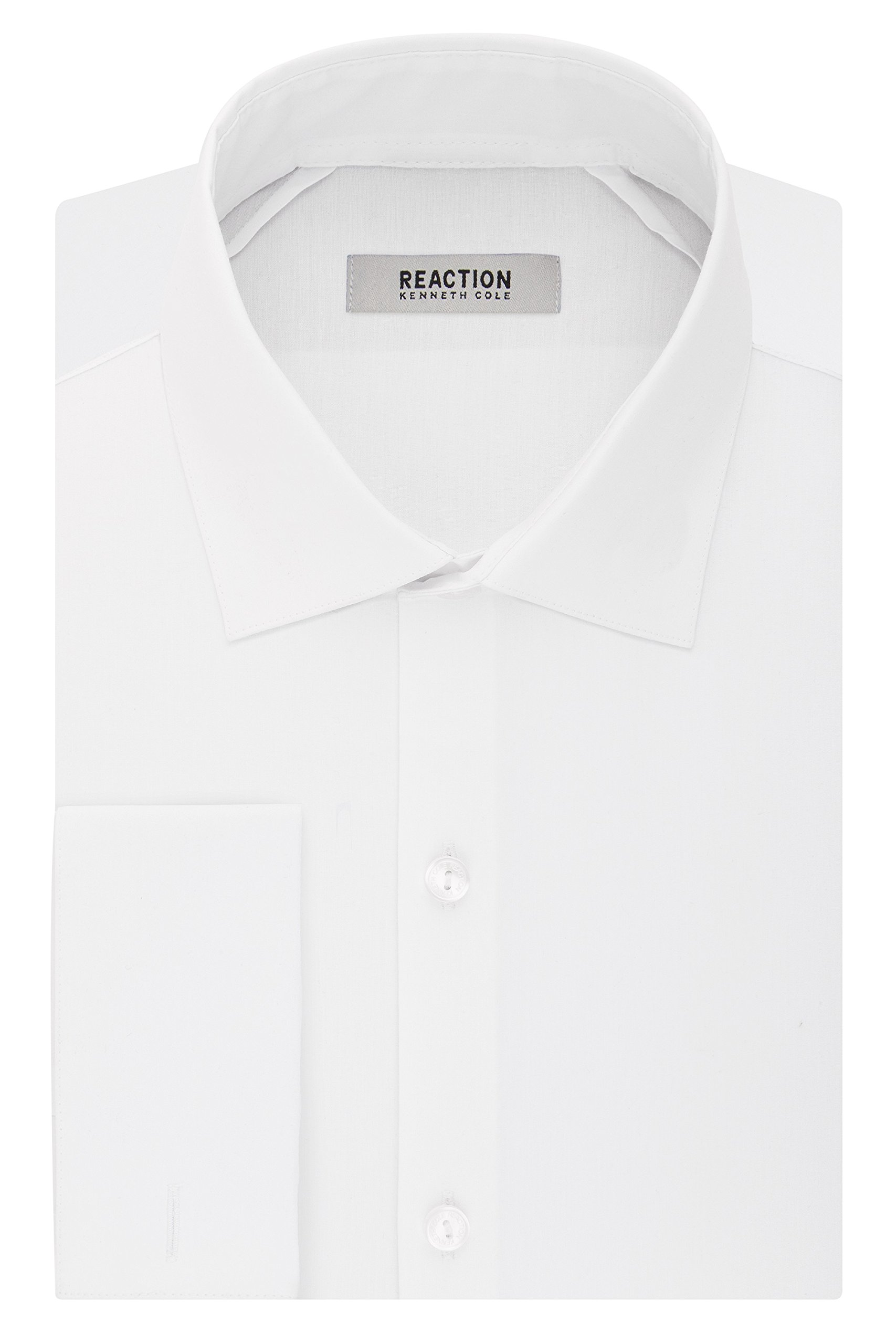 Kenneth Cole REACTION Men's Technicole Slim Fit Stretch Solid French Cuff Spread Collar Dress Shirt, White, 15.5'' Neck 32-33'' Sleeve
