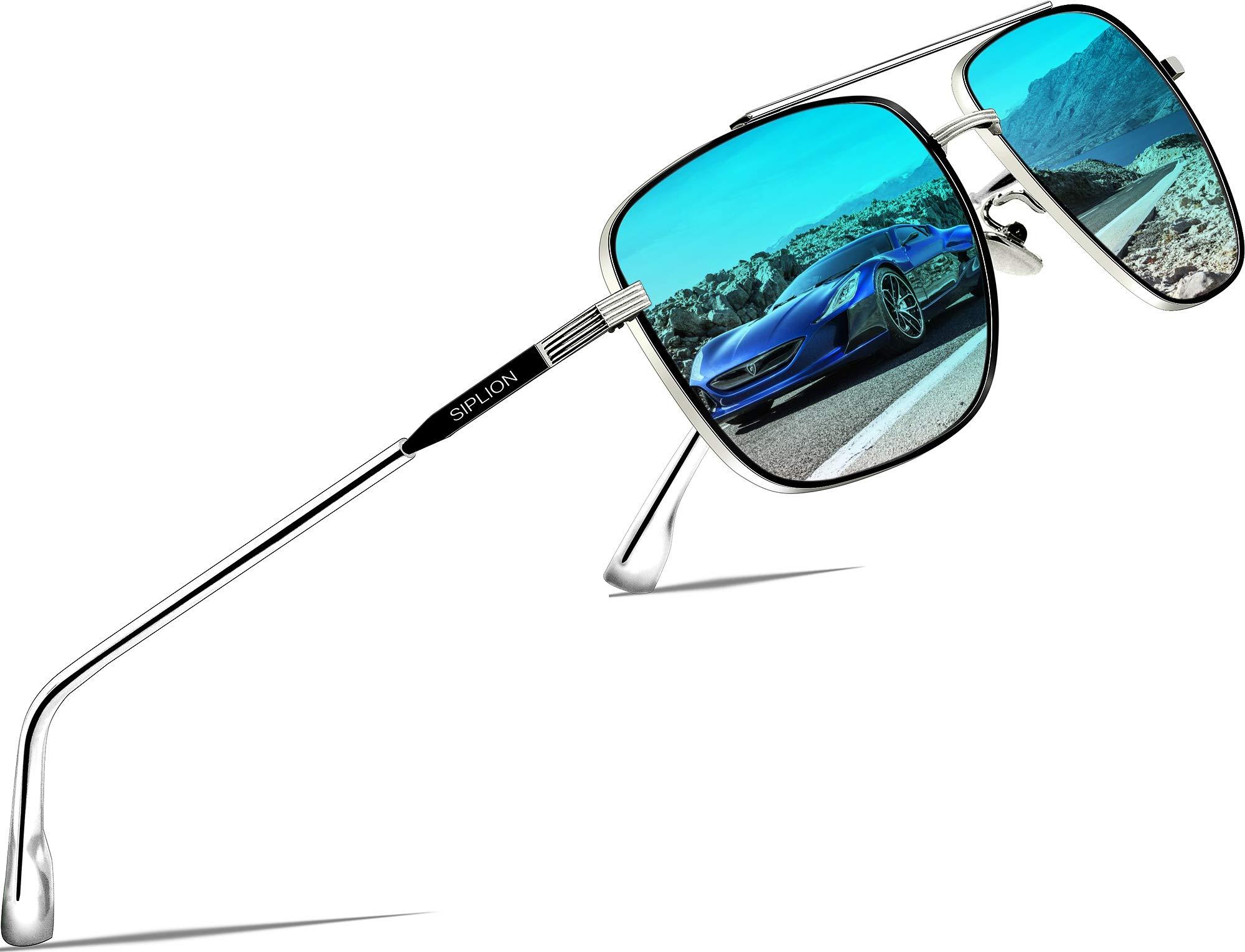 SIPLION Men's Driving Sunglasses Polarized UV Protection Rectangular Metal Sun Glasses 6055 Blue by SIPLION