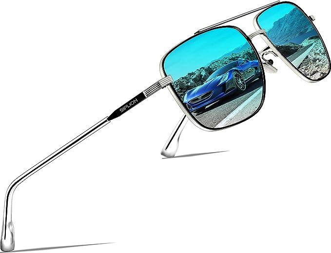 SIPLION Metal Rectangular Gafas De Sol Hombre Polarizadas Protección UV