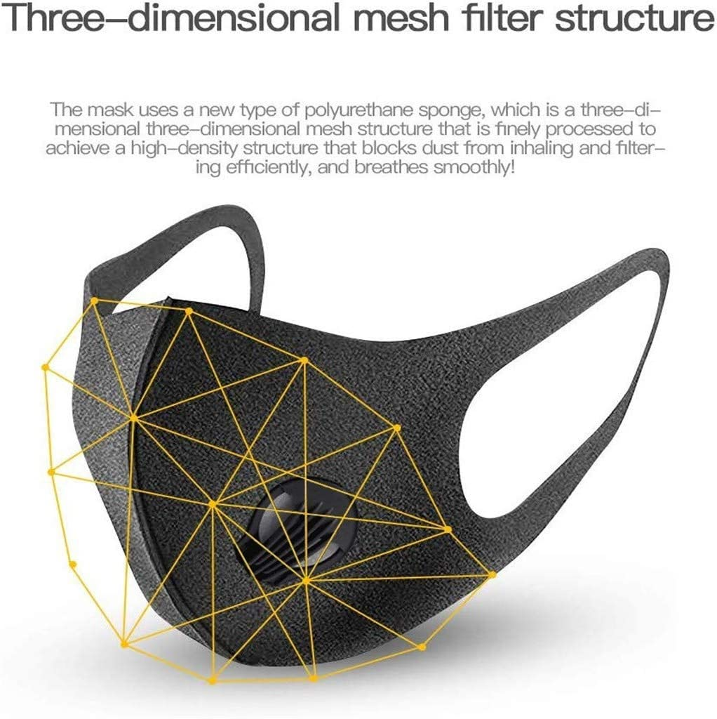 Tuscom 5 Pcs Resuable Anti Dust Face Bandanas with Breathing Valve Carbon Filter Multi Layer Breathable Mouth Shields