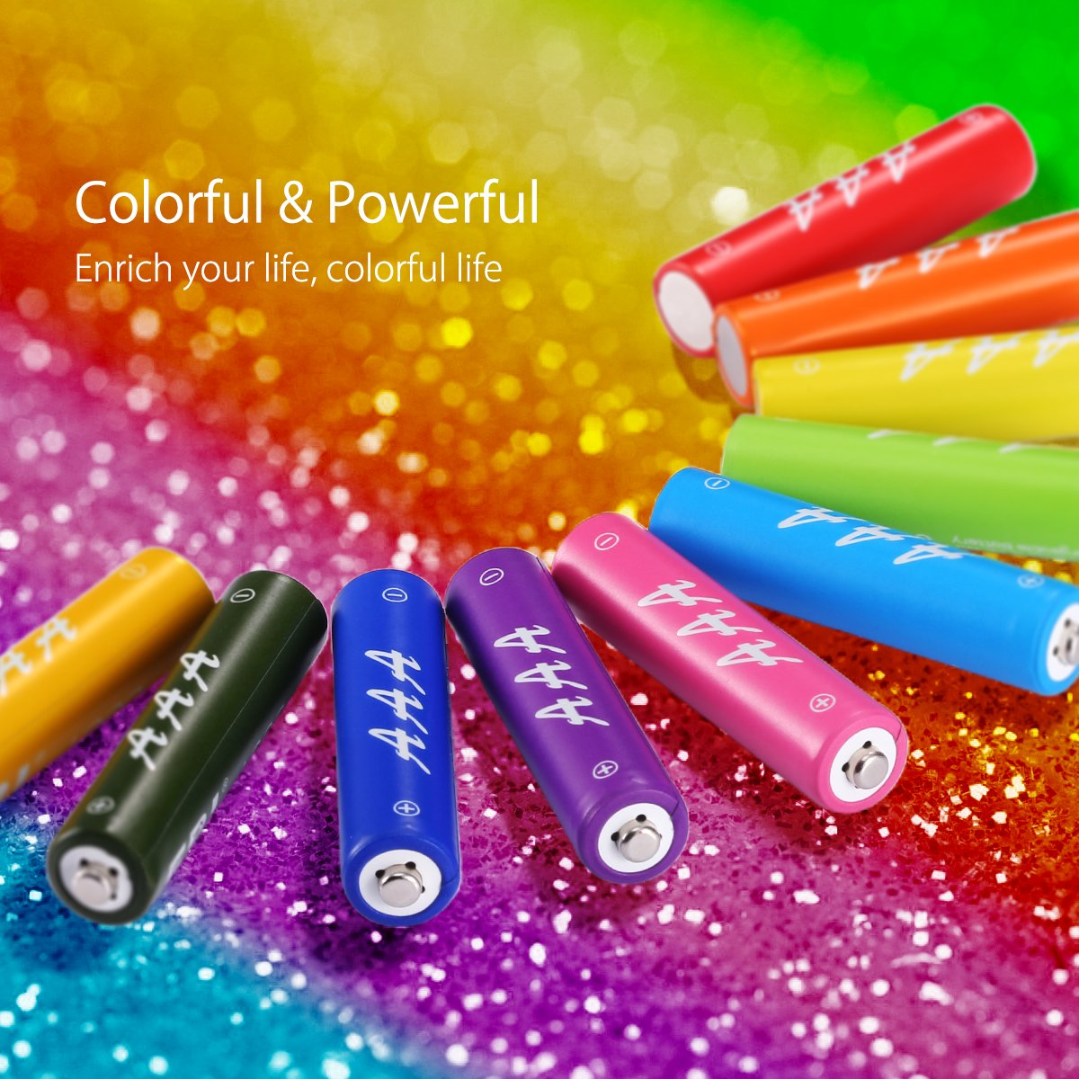 EBL AAA Rechargeable Batteries 1000mAh Deep Cycle New Rainbow Ni-MH Battery, Pack of 10