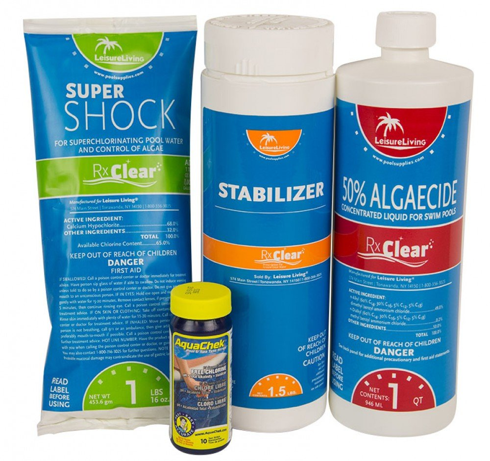 Rx Clear Spring Start-Up Kit | Chemicals for Opening Swimming Pools | Above  or In- Ground | for Pools Up to 7,500 Gallon