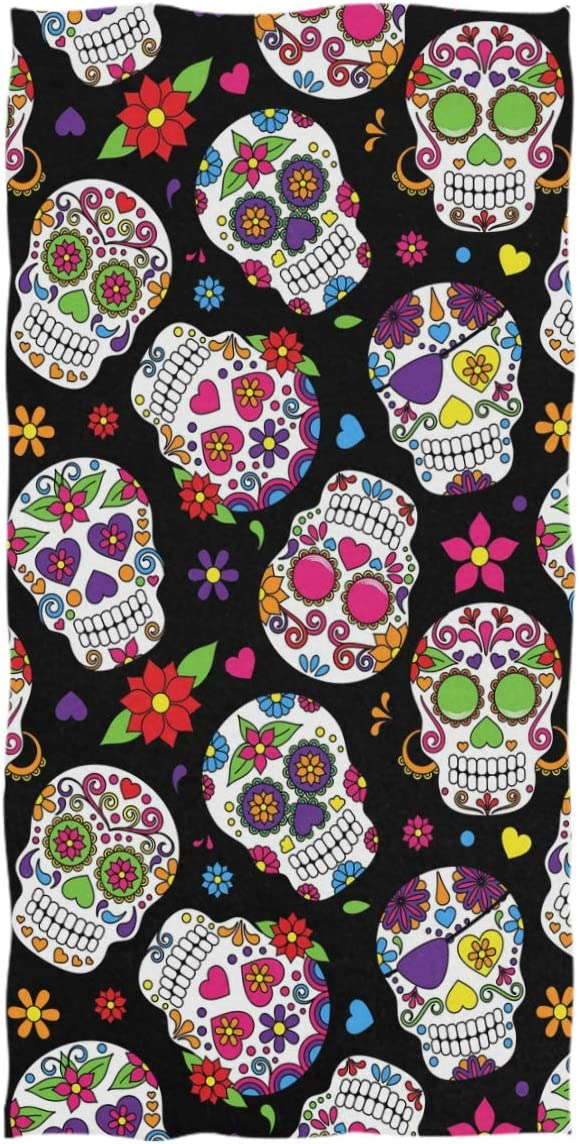 """Wamika Day of The Dead Sugar Skull Hand Towels Ultra Soft Towel Heart Flower Absorbent Hand Towel Guest Bath Towels Washcloth Multipurpose for Hand Face Gym Spa 16"""" x 30"""""""
