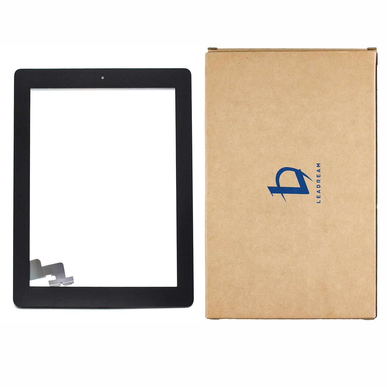 Black Touch Screen Digitizer Assembled with Home Butoon Strong Adhesive for iPad 2 2nd Generation A1395 A1396