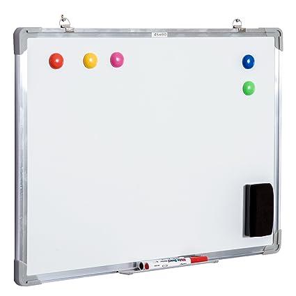 HOMCOM Pizarra Magnética con 10 Imanes + 1 Borrador + 4 Rotuladores - Color Blanco -