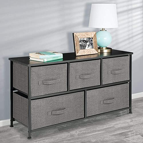 mDesign Extra Wide Dresser Storage Tower – Sturdy Steel Frame, Wood Top, Easy Pull Fabric Bins – Organizer Unit for Bedroom, Hallway, Entryway, Closet – Textured Print, 5 Drawers – Charcoal Gray Black
