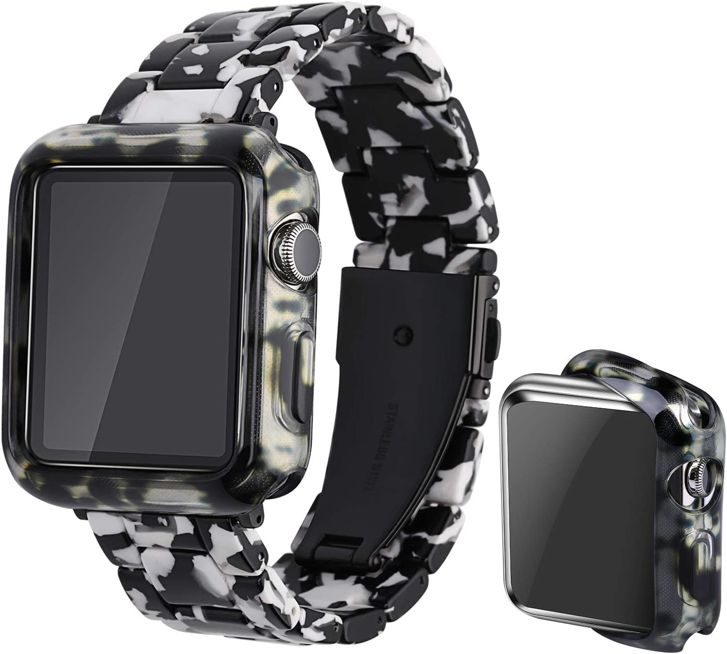 Omter Band with Case Compatible with Apple Watch 44mm 42mm 40mm 38mm, Women Men Fashion Resin Band Strap Compatible with iWatch Series SE/6/5/4,Series 3/2/1 (Cow spot, 44mm)