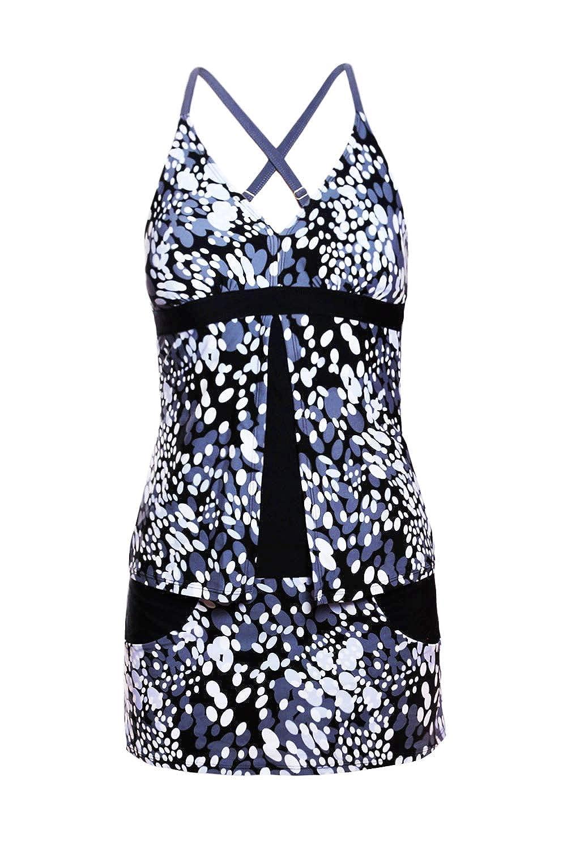 Asvivid Womens Print Two Piece Swimsuit Crisscross Back Tankinis with Skirted Bikini Bottom S-XXXL