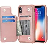 Arae Case for iPhone X/iPhone Xs - Wallet Case with PU Leather Card Pockets [Shockproof] Back Flip Cover for iPhone X/Xs 5.8