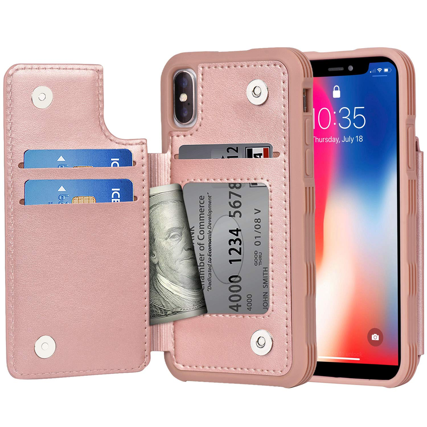 Arae Case for iPhone X/iPhone Xs - Wallet Case with PU Leather Card Pockets [Shockproof] Back Flip Cover for iPhone X/Xs 5.8 inch (Rosegold) by Arae