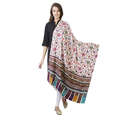 77e956616b La Vastraa Women's Pure Wool Kashmiri Shawl Embroidery Multi Printed Shawl  (White, Free Size): Amazon.in: Clothing & Accessories