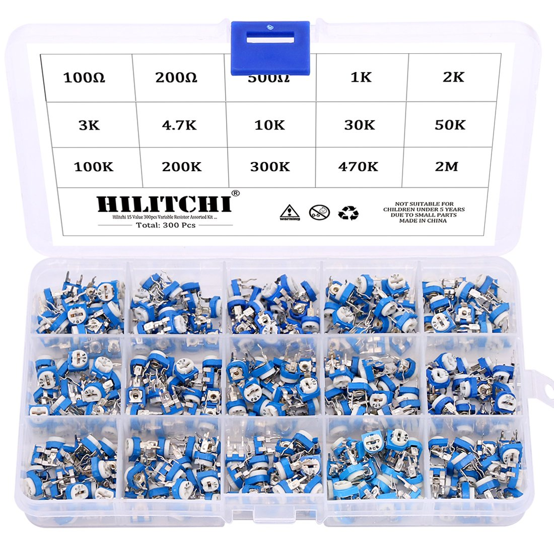 Hilitchi 15 Value 300pcs Variable Resistor Assorted Kit